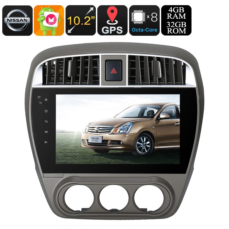 One DIN Android Media Player - Android 9.0.1, 10.2 Inch, For Nissan Cars, WiFi, CAN BUS, Octa-Core, 4GB RAM, GPS, HD Display