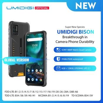 "UMIDIGI BISON IP68/IP69K Waterproof Rugged Phone 48MP Matrix Quad Camera 6.3"" FHD+ Display 6GB+128GB NFC Android 10 Smartphone"