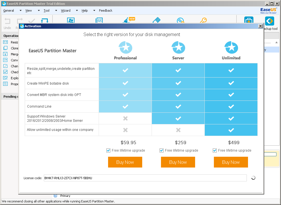 easeus partition master free edition license code